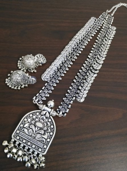 Oxidised Long Rajwada Temple Necklace Set