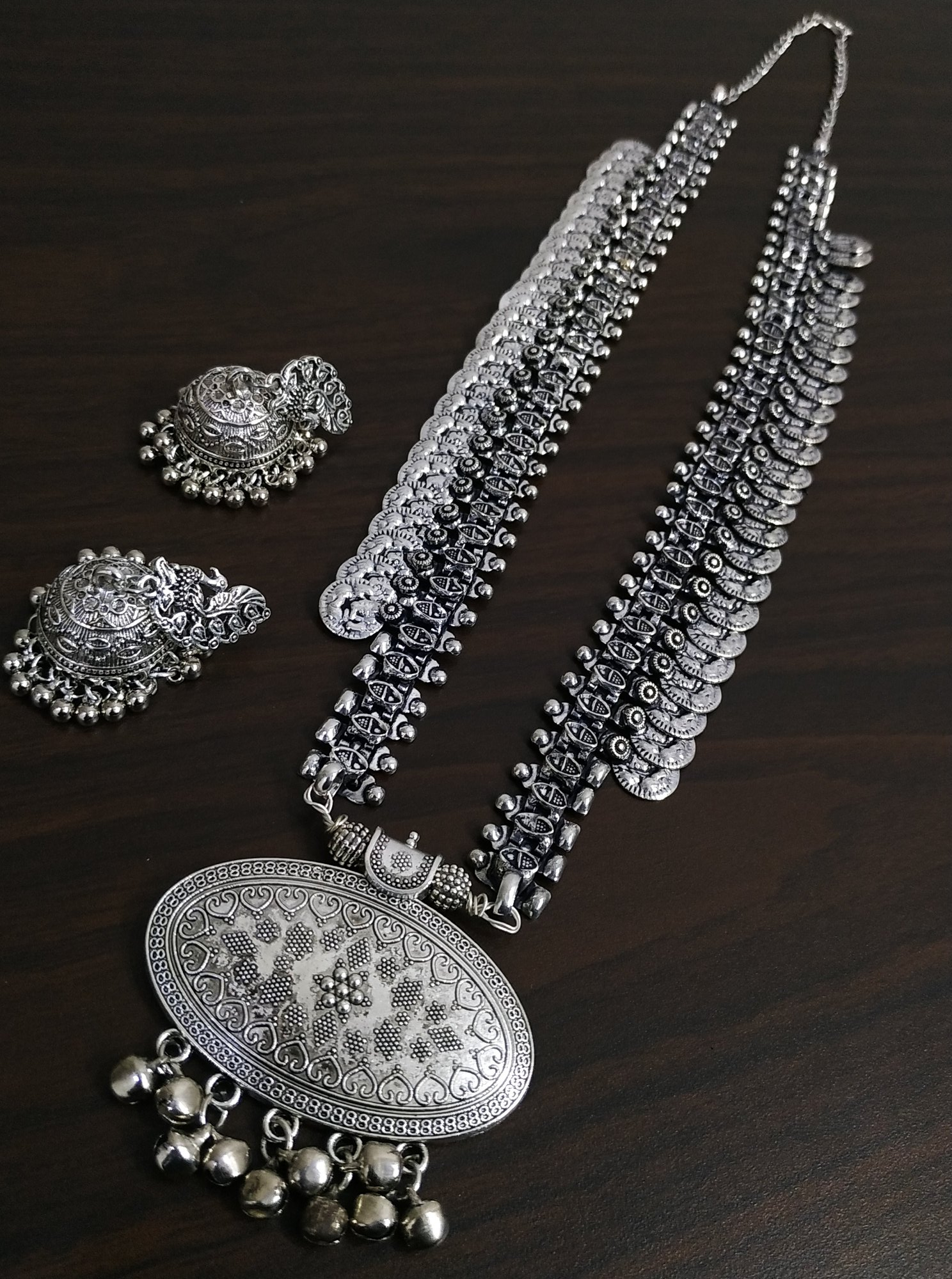 Exclusive Heavy Temple Oxidised Neckalce Set