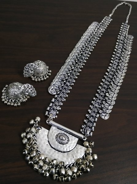 Royal Oxidised  Rajasthani Temple Neckalce Set