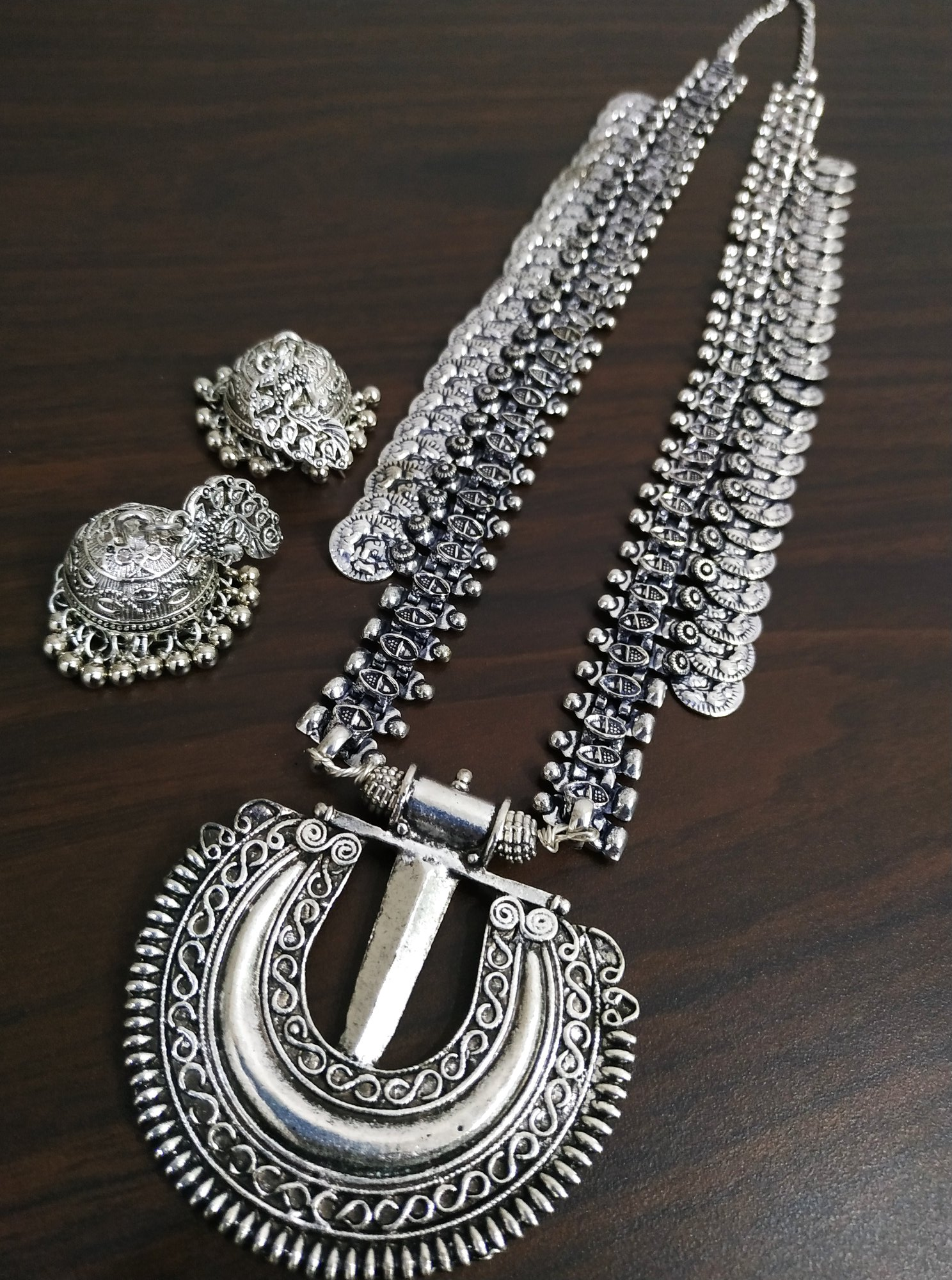 Beautiful Long Oxidised Temple Neckalace Set