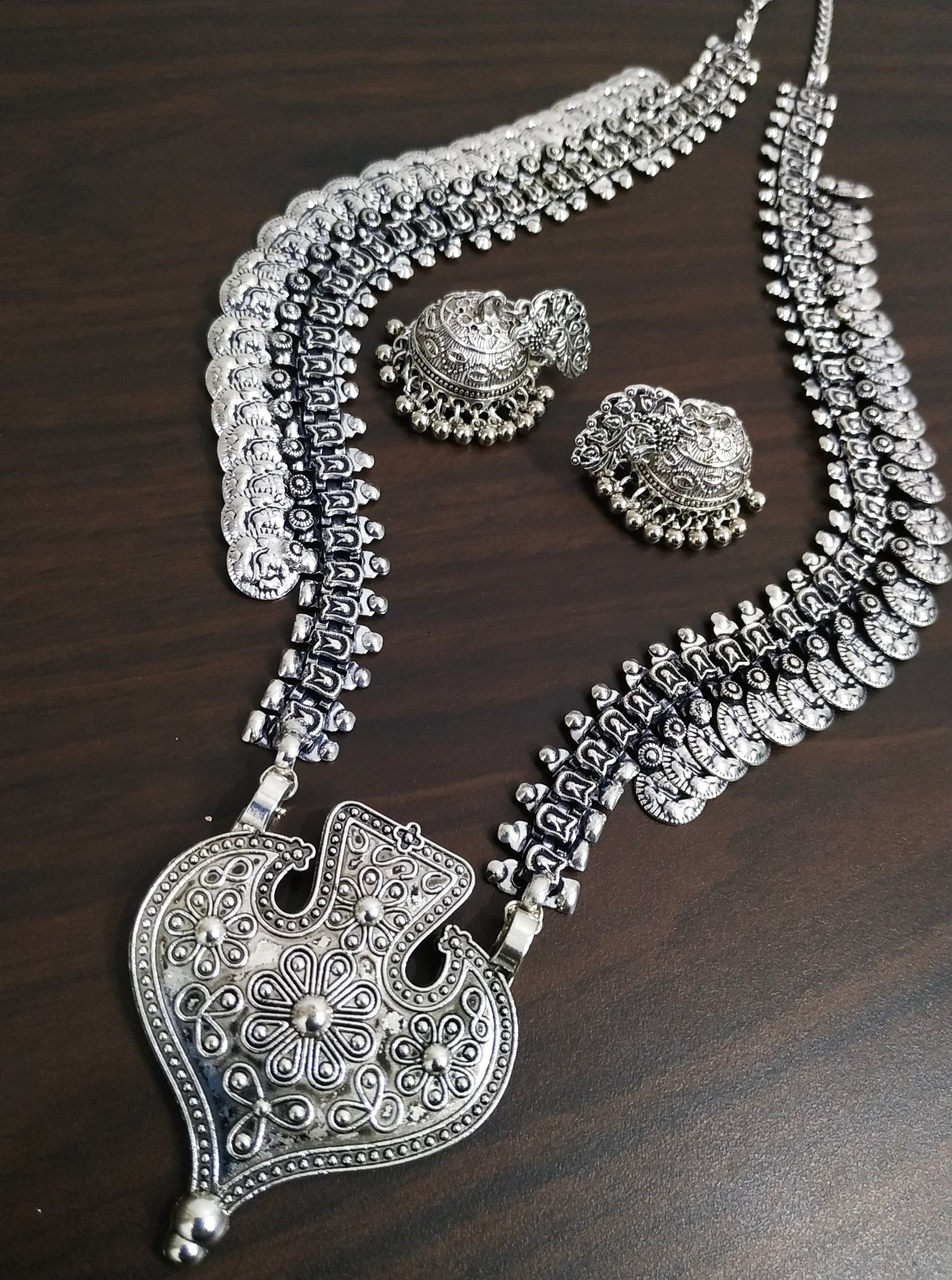 Handicrafted Oxidised Long Necklace Set