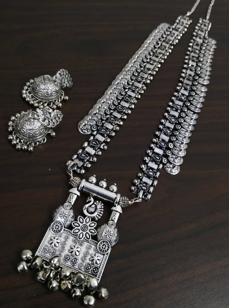 Gorgeous Oxidised Long Rajwada Neckalace Set