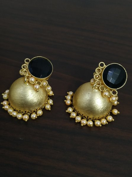 Attractive Matt Finish Jaipuri Stone Jhumka