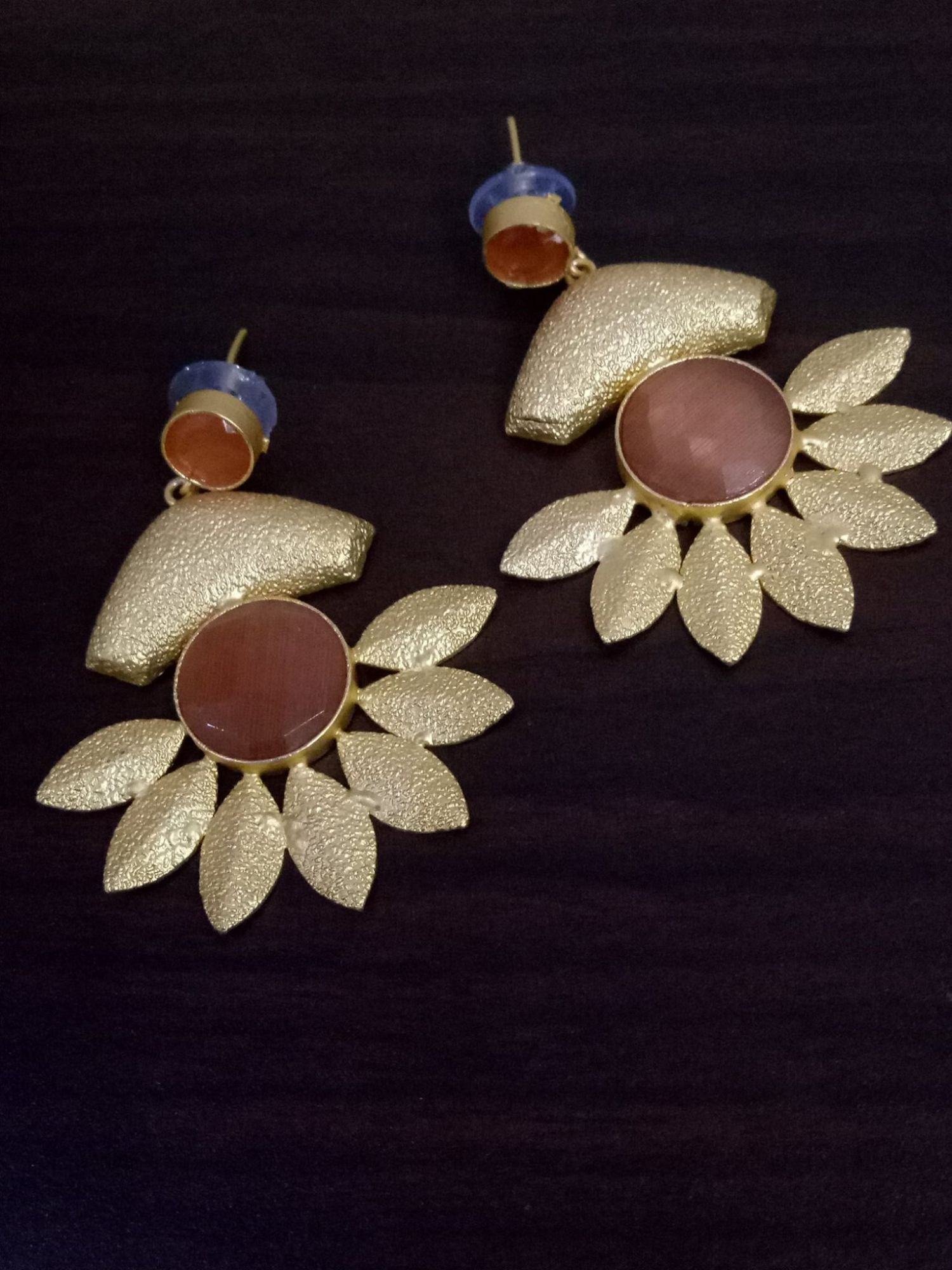 Designer Gold Plated Stone Earrings