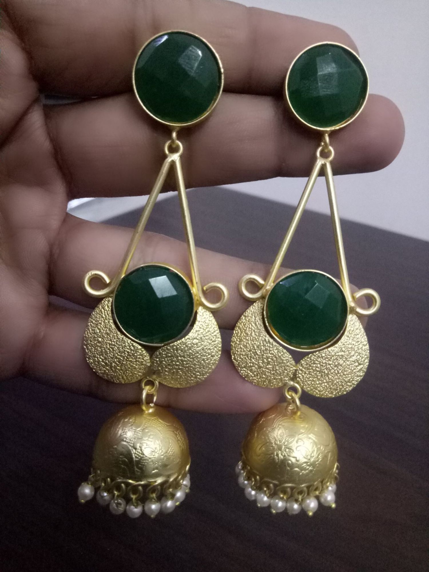 Gleaming Matt Finish Golden Stone Jhumka