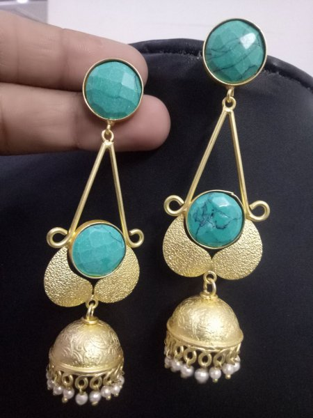 Glowing & Beautiful Stone Golden Jhumka