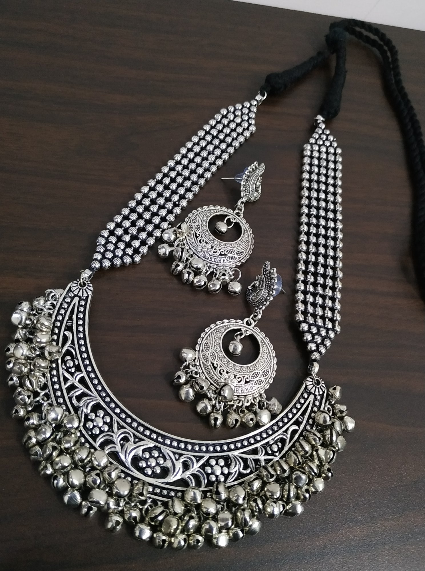 Designer Heavy Oxidised Ball Chain Necklace Set