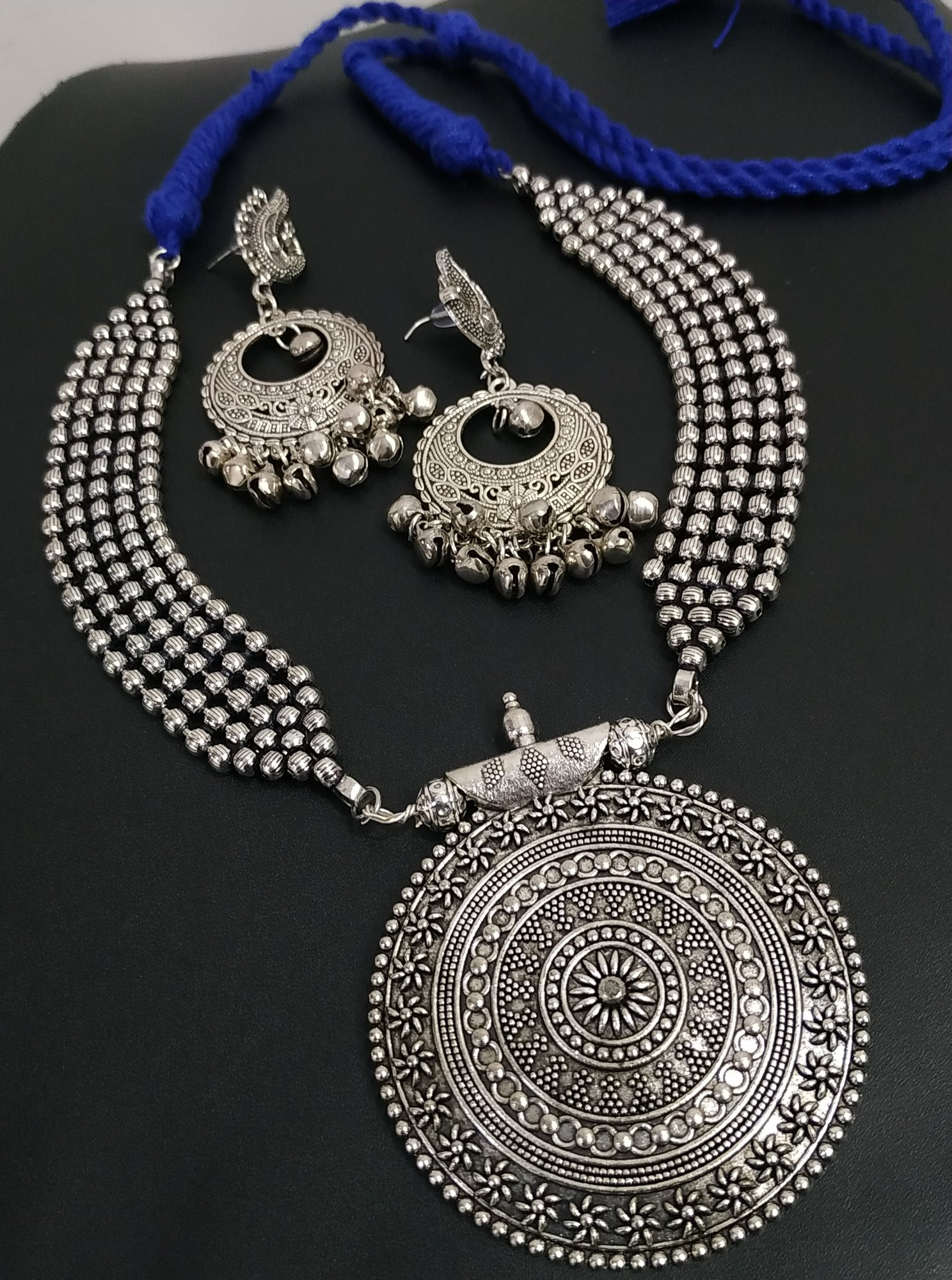 Beautiful Oxidised Rajwada Ball Chain Necklace Set