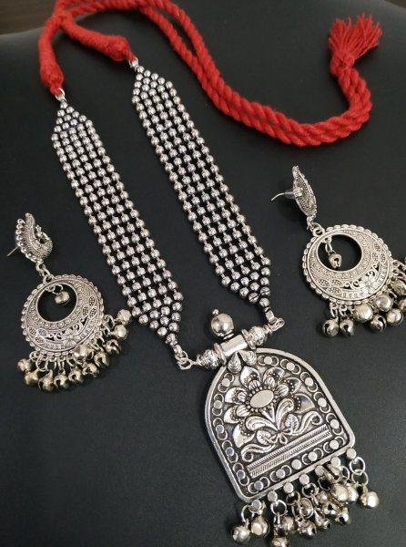 Flambouyant Oxidised Rajasthani Style Ball Chain Necklace Set
