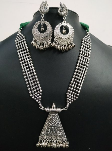 Royal Oxidised Ball Chain Ethnic Neckalace Set