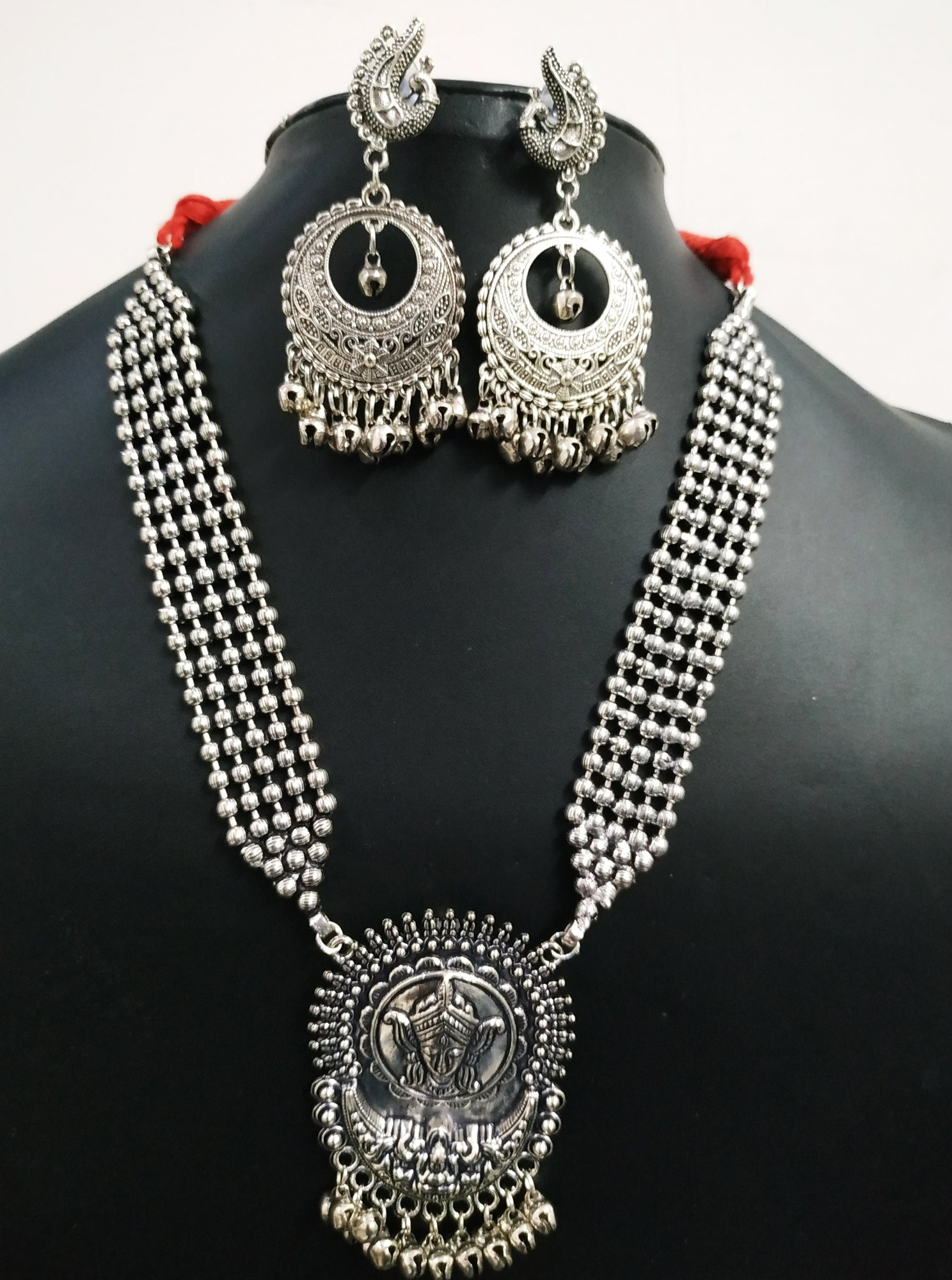 Partywear Ball Chain Oxidised Necklace Set