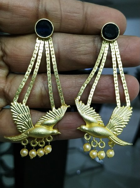 Beautiful Golden Pigeon Earrings