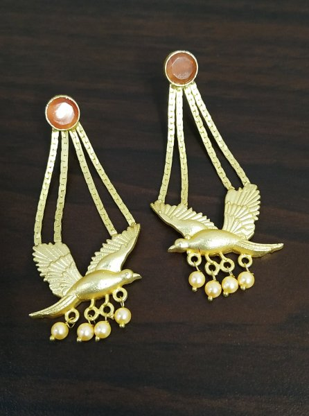 Designer Stone Pigeon Golden Earrings