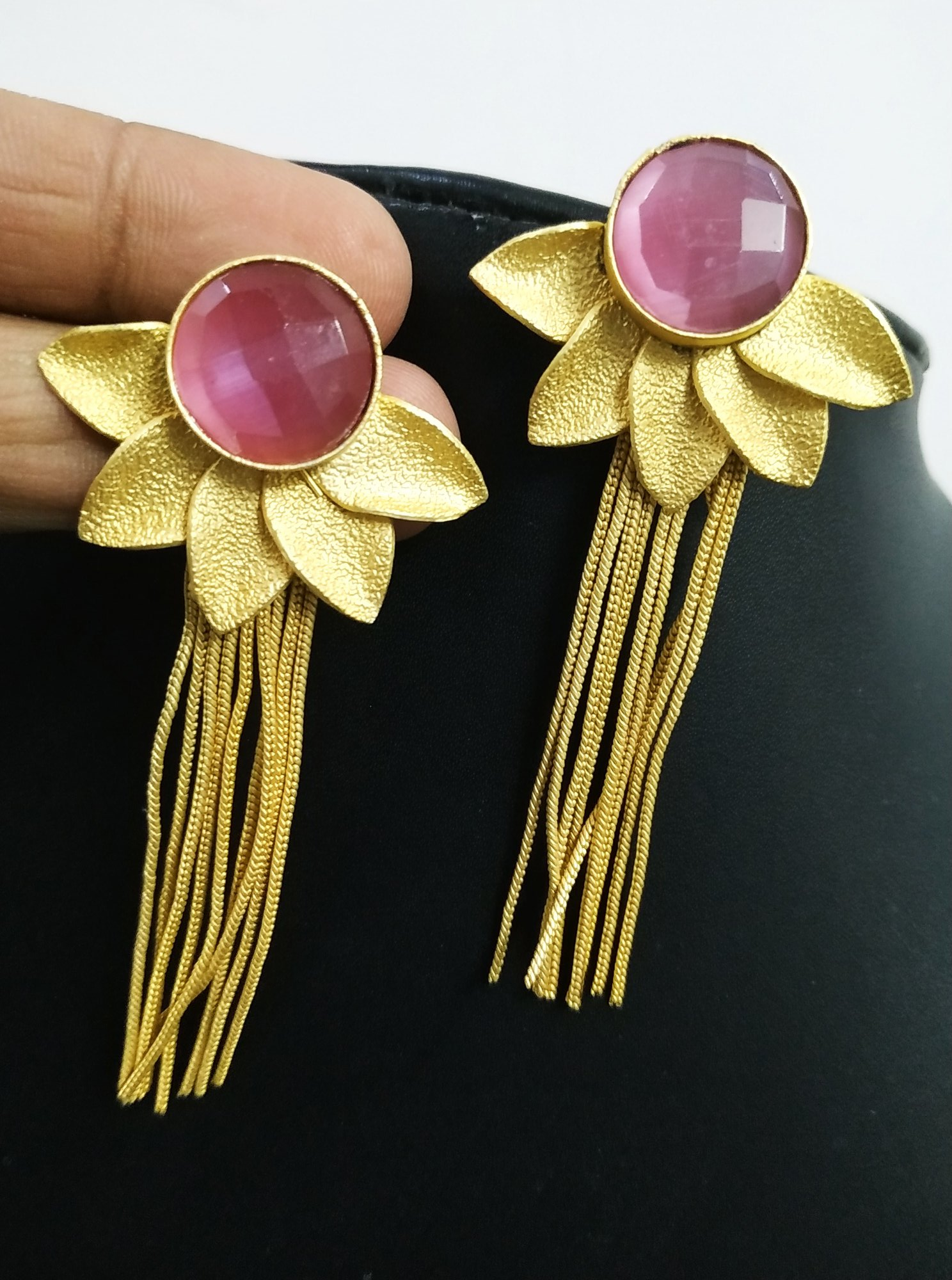 Classy Jaipuri Golden Latkan Stone Earrings