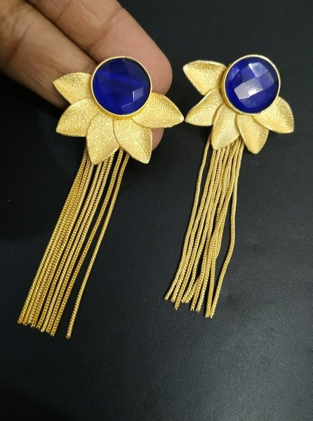 Pleasant Golden Jaipuri Stone Long Earrings