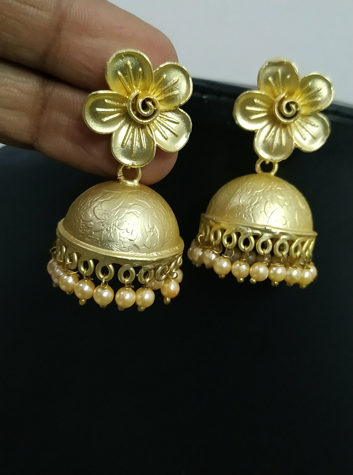 Partywear Rose Gold Matt Flower Jhumka