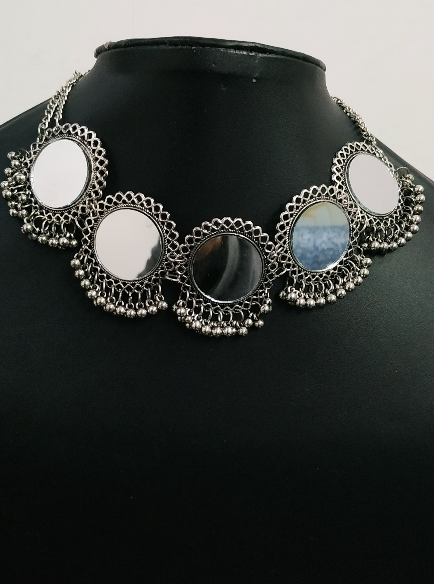 Beautiful Oxidised Mirror Choker Necklace