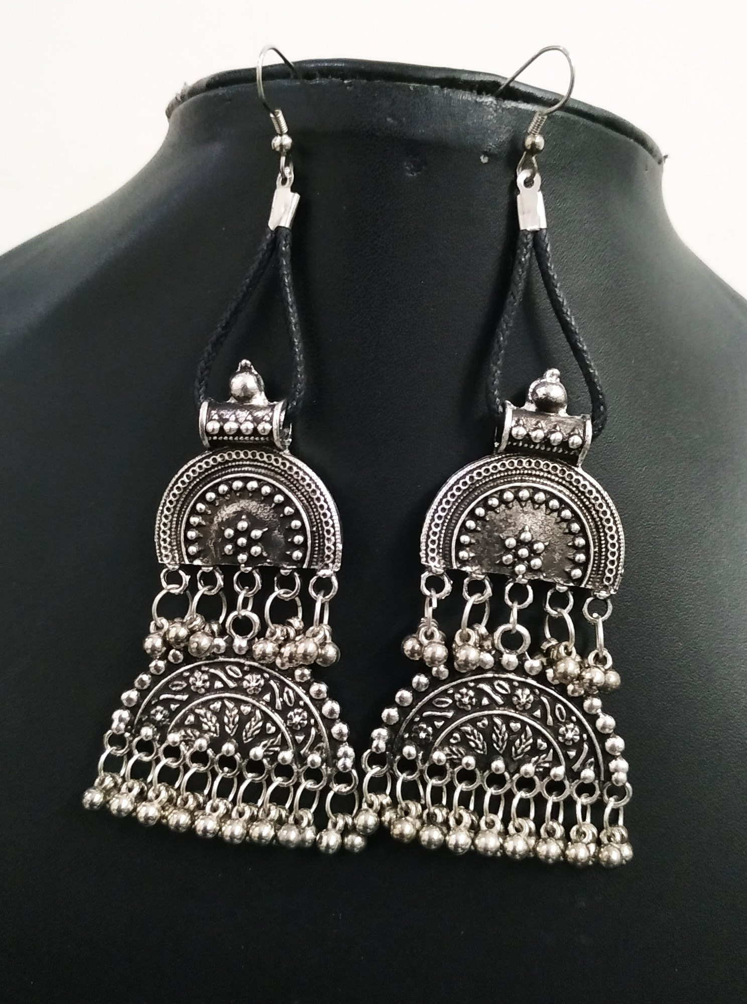 Trendy Oxidised Long Earrings