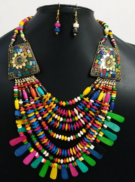 Gorgeous Multicolored Nepali Necklace Set