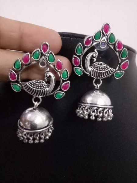 Glowing Peacock Stone Jhumki
