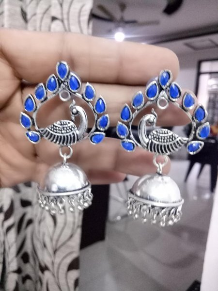 Adorable Stone Peacock Oxidised Jhumka