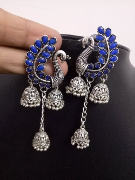 Stylish Peacock Stone Triple Jhumki
