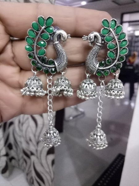 Royal 3 Jhumki Oxidised Peacock Stone Earring