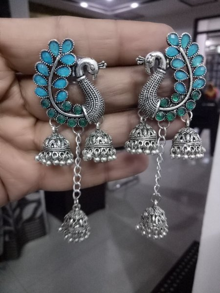 Tempting Stone Oxidised Peacock Jhumka