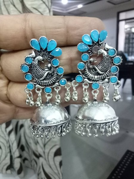 Handicrafted Peacock Stone Earrings