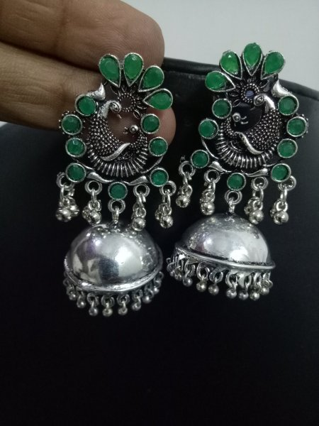 Black Oxidised Polish Peacock Jhumka