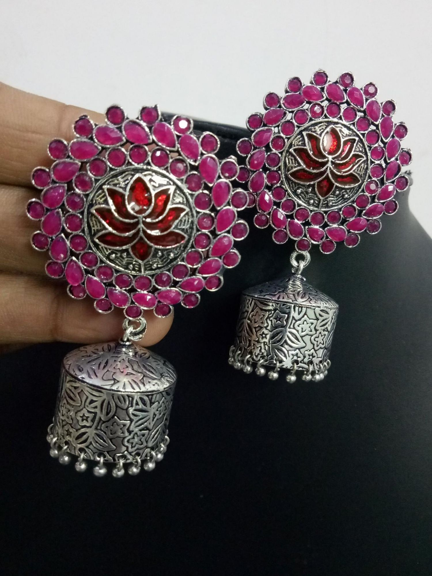 Beautiful Handmade Lotus Stone Jhumka
