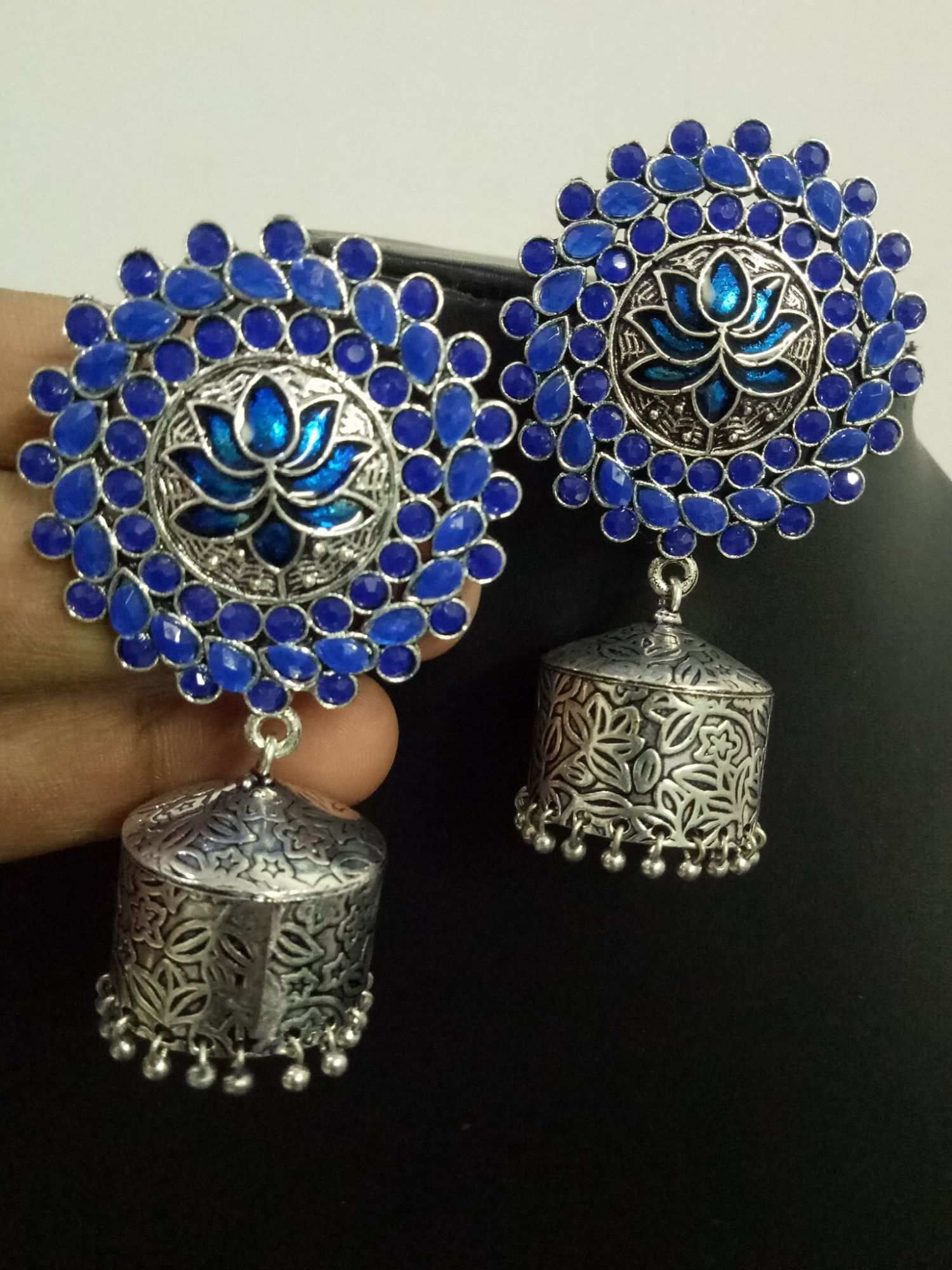 Royal Lotus Stone Jhumka