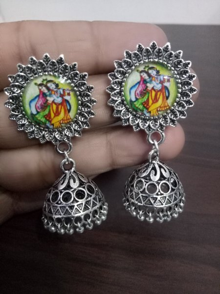 Beautiful Radha Krishna Oxidised Jhumka