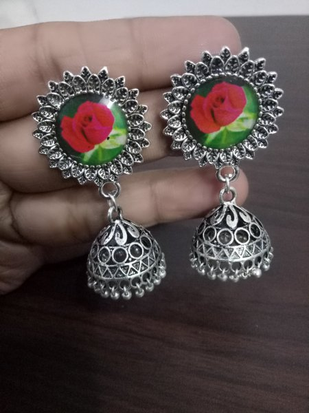 Pretty Flower Oxidised Jhumka