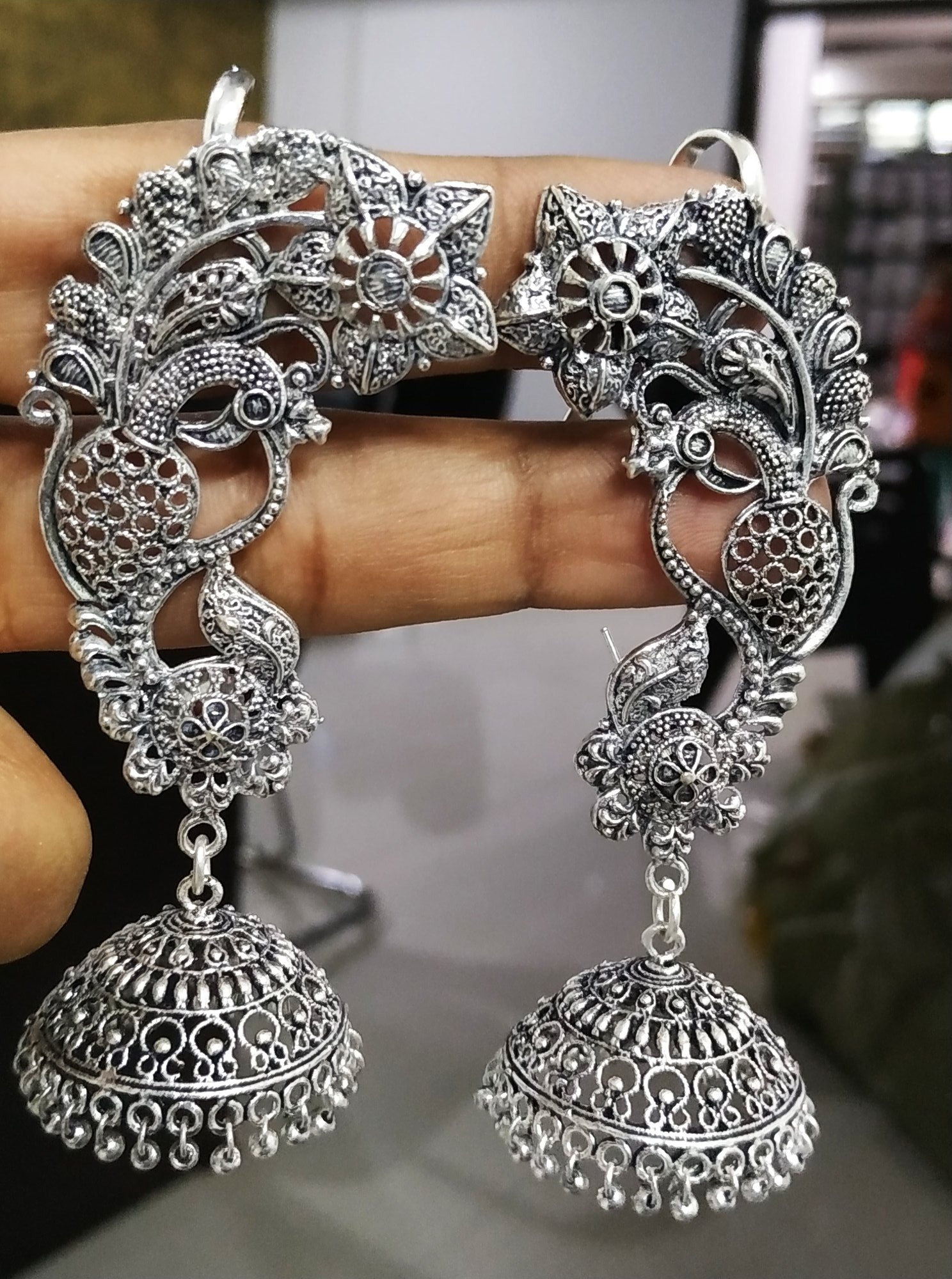Attractive Oxidised Big Earrcuffs