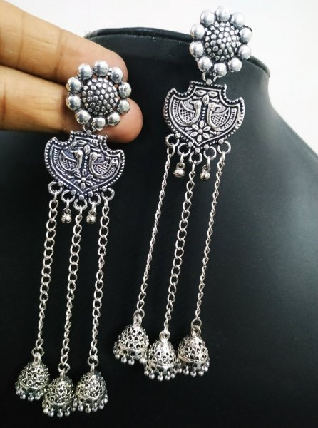 Trendy Long Oxidised Chian Earrings