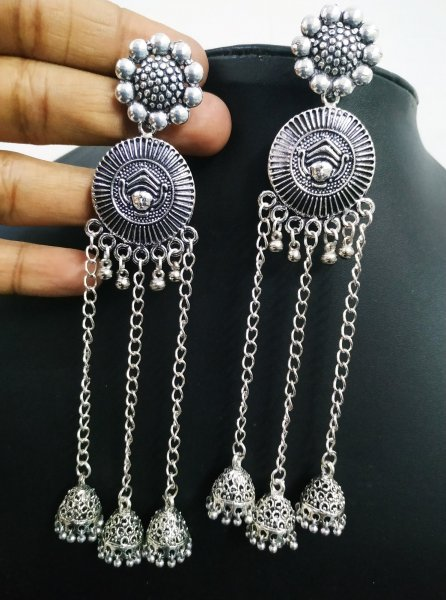 Stylish Long Partywear Temple Earrings