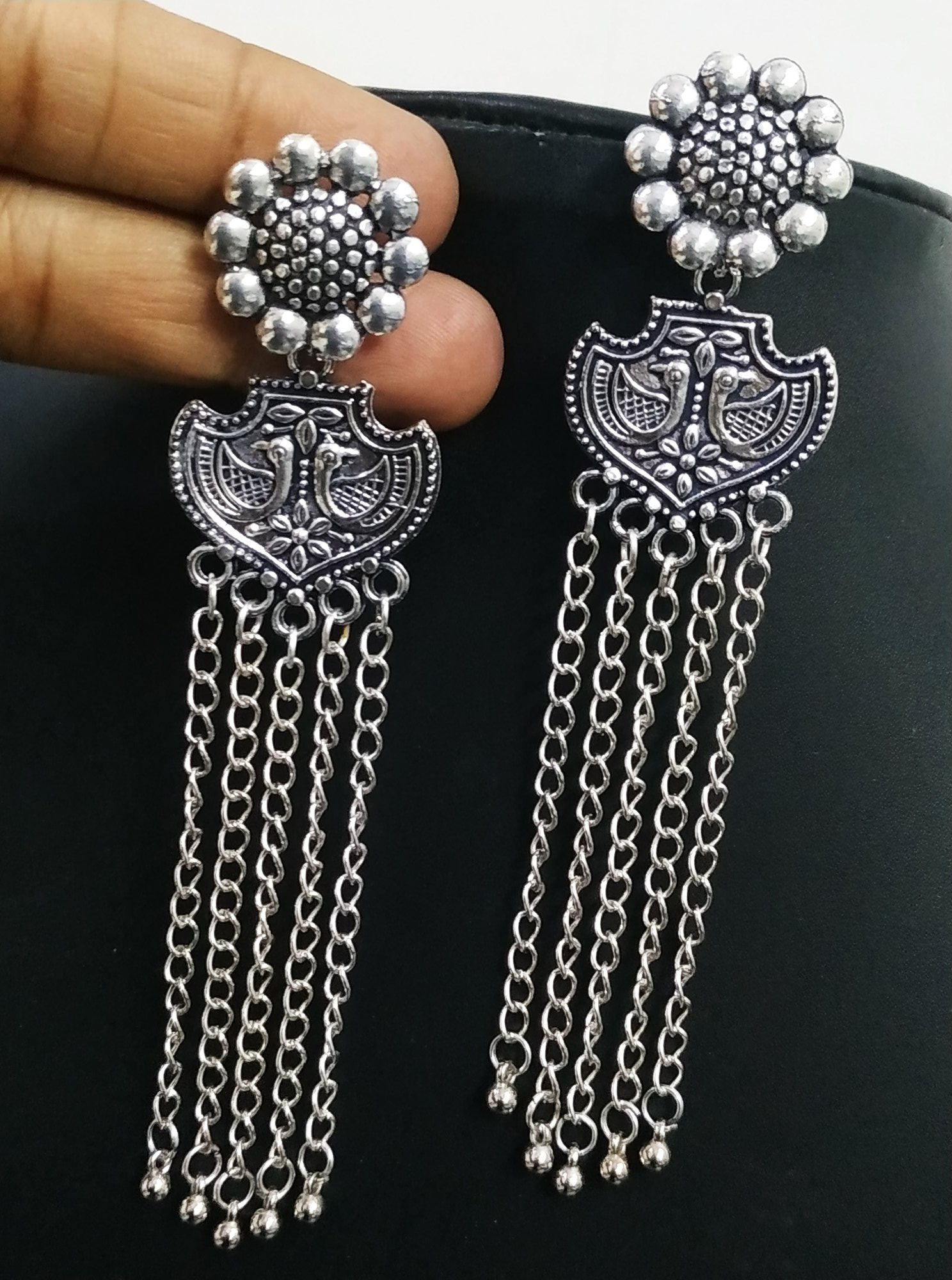 Dazzling Oxidised Long Chain Earrings