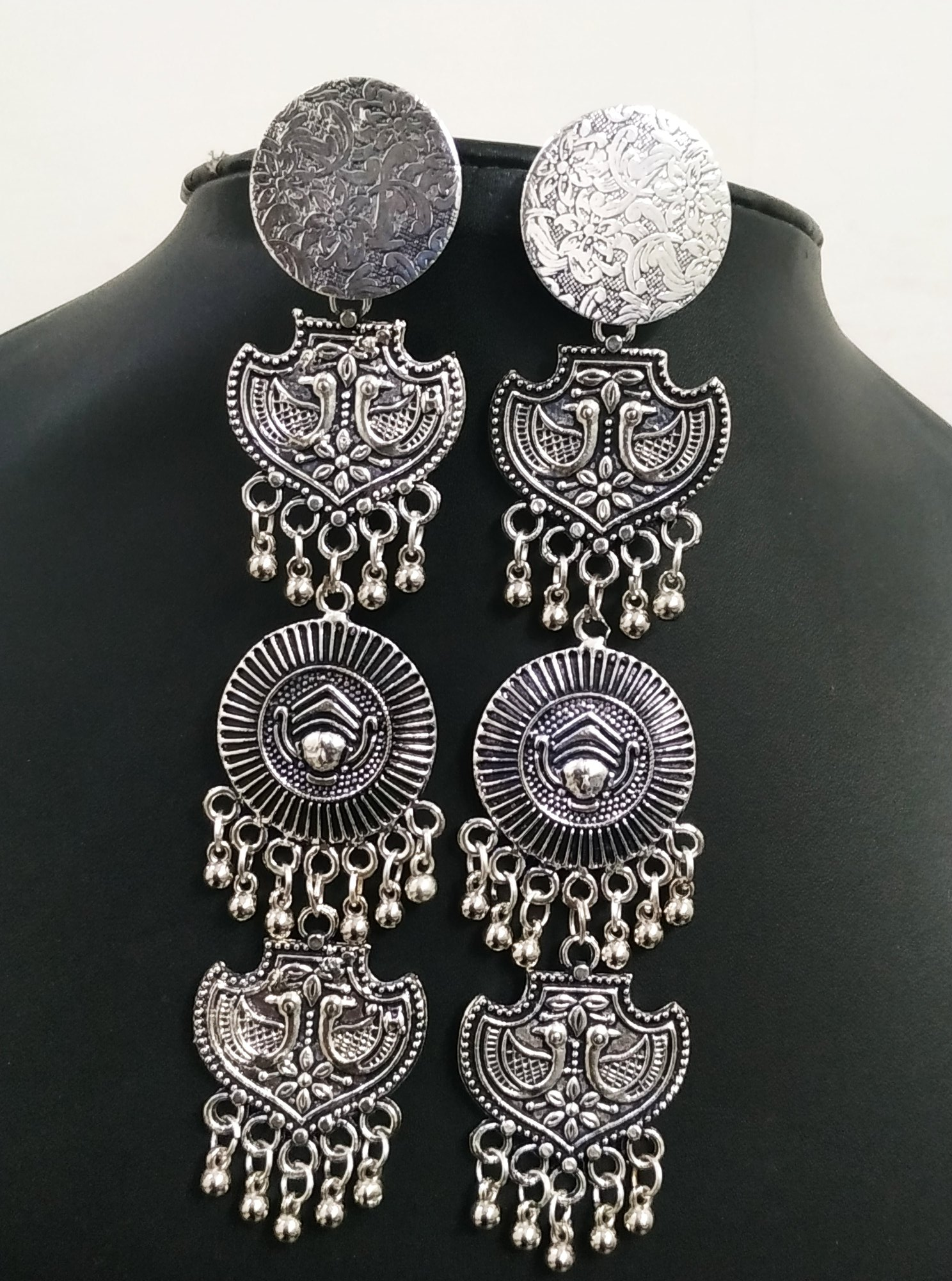 Charming Oxidised Long Earrings