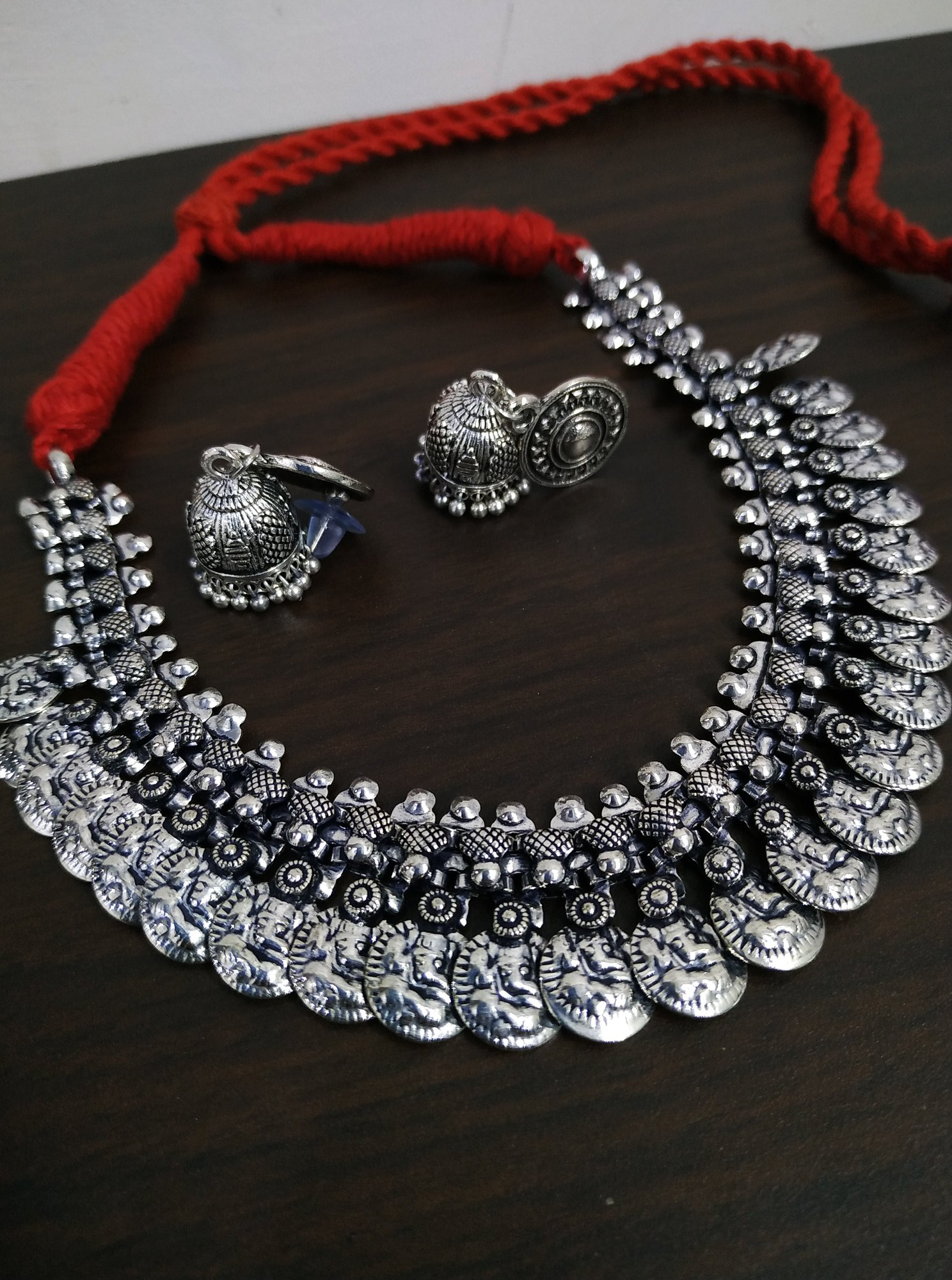 Gracious Coin Oxidised Thread Necklace Set