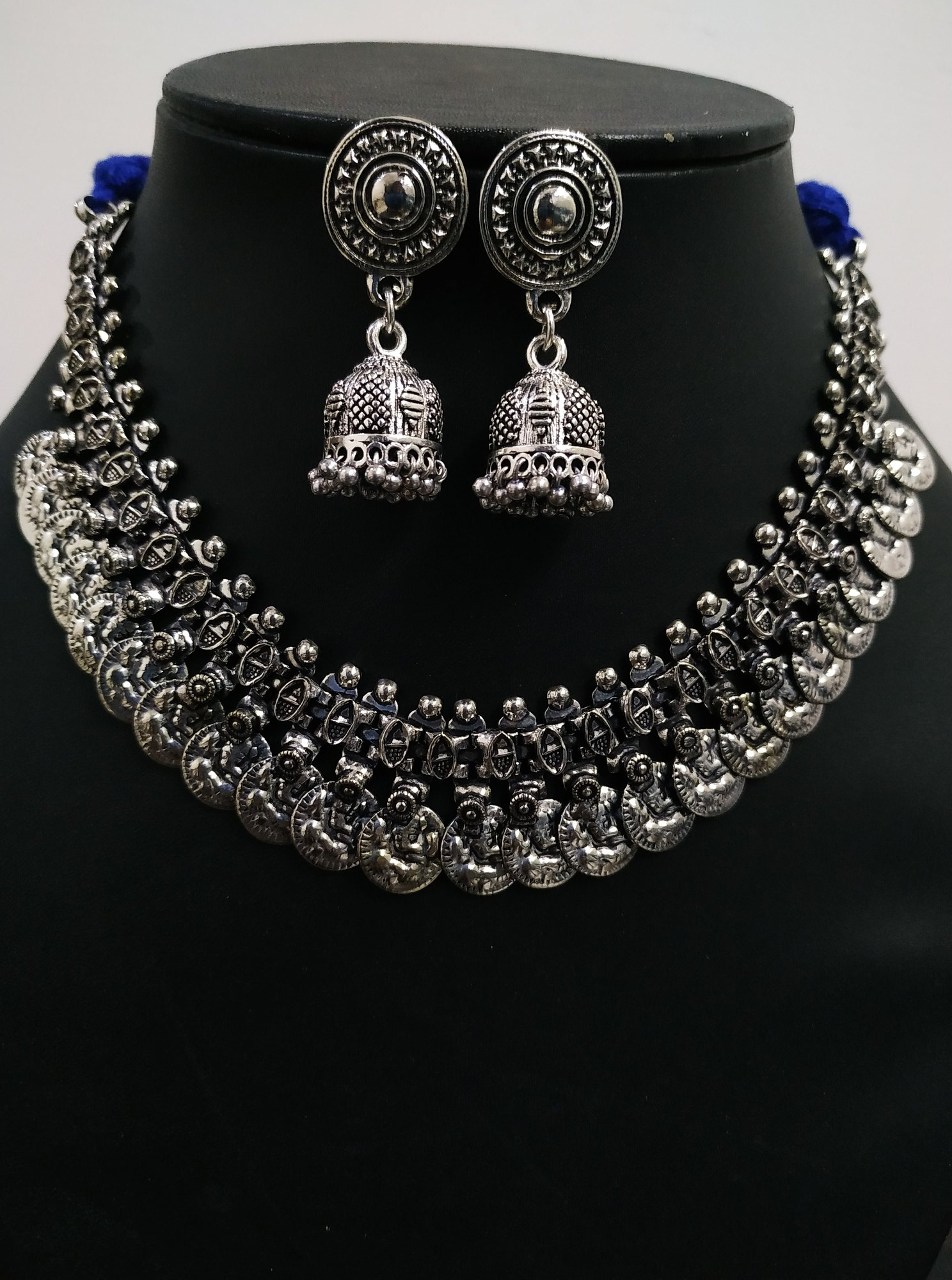 Classic Coin Oxidised Neckalce Set