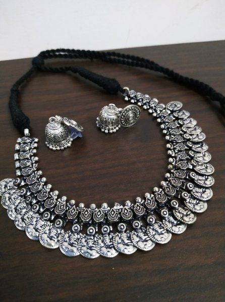 Superb Coin Oxidised Thread Neckalce Set