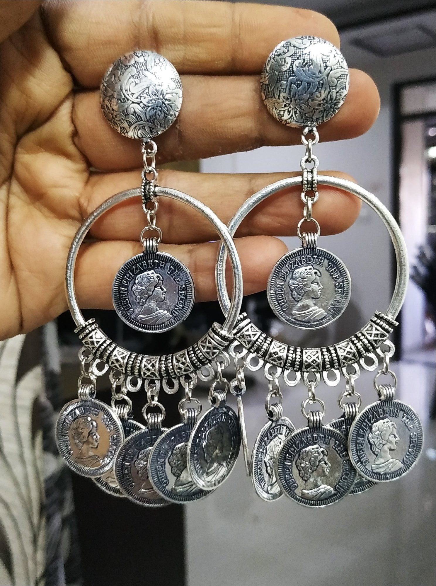 Trendy Oxidised Coin Bali
