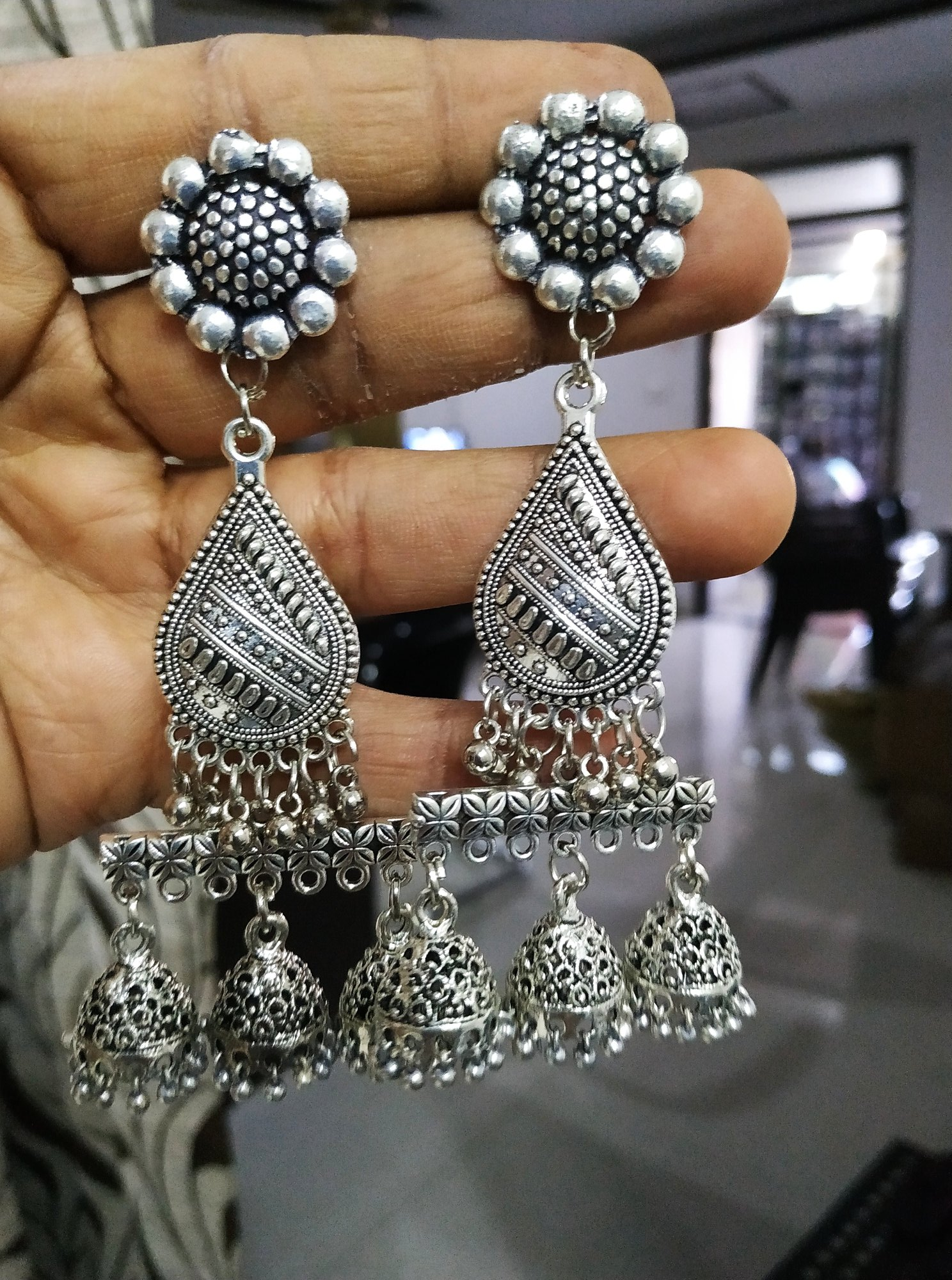 Designer Oxidised Triple Jhumki Earrings