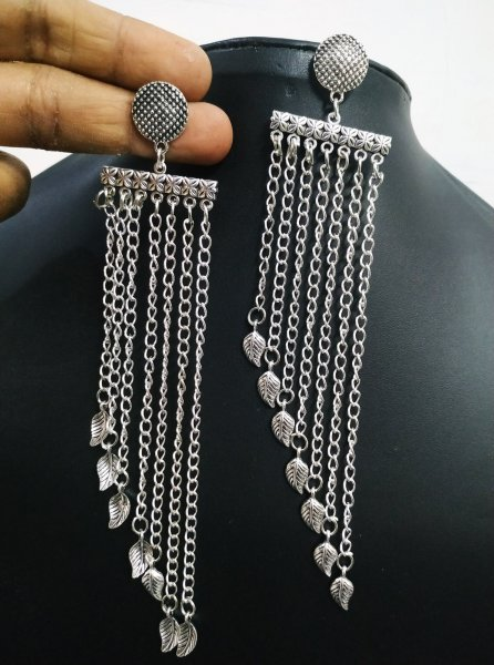 Traditional Long Leaf Oxidised Earrings
