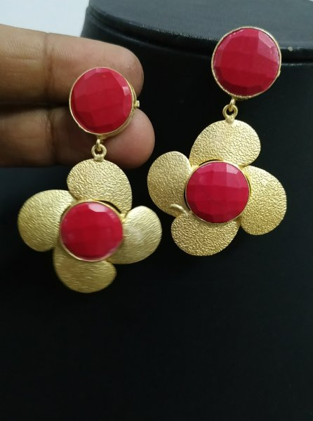 Partywear Stone Golden Earrings