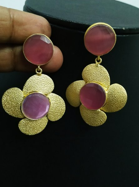 Glamorous Golden Stone Earrings