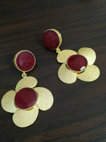 Pleasant Partywear Golden Flower Earrings