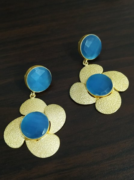 Designer Golden Flower Earrings